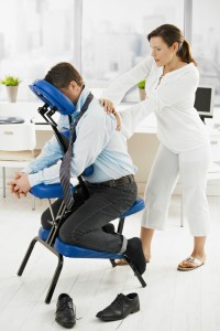 Man getting chair massage
